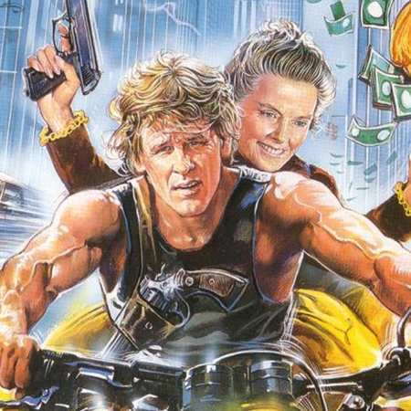 VHS vintage artwork for Grace Quigley features illustration of Katherine Hepburn smiling with a gun in one hand, bag of money in the other, riding the back of a motorcycle ridden by Nick Nolte who has a serious expression on his face