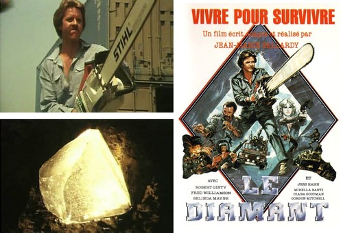 Image is a three part collage. Ont the left are two square images, one atop the other - on top an image of actor Robert Ginty holding a chainsaw menacingly, below is a picture of the titular White Fire diamond glowing yellowy white in the dark of a mine. On the right o the collage is a portrait length image, as tall as the two images two its left combined, and is a reproduction of video cover art for the film. Top of the image in red reads: Vivre Pour Survivre, and at the bottom in text intended to emulate the appearance of a diamond, reads 'Le Diamant'. Between these two instances of french text is an artists rendering of Robert Ginty holding the aforementioned chainsaw framed by a diamond shape, and to his left Fred Williamson embroiled in a fistfight. On the right is actress Belinda Mayne firing a gun toward and to the right of the viewer's perspective. Below all three actors are instances of vehicular action.
